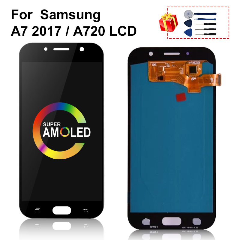 Super AMOLED For <font><b>Samsung</b></font> Galaxy <font><b>A720</b></font> <font><b>LCD</b></font> A720F A720M Display Touch Screen Digitizer Replacement Parts For <font><b>Samsung</b></font> A7 2017 <font><b>LCD</b></font> image