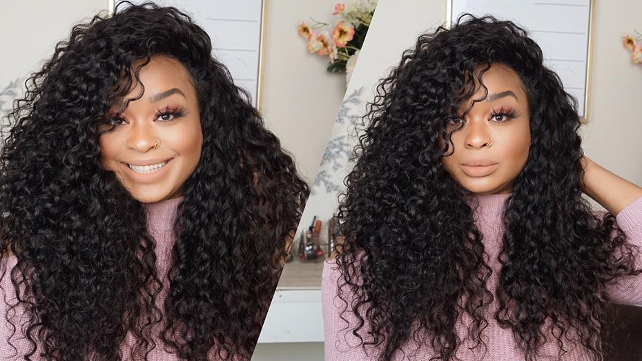 Kinky Curly Wigs 150% Density 13*4 Lace Frontal Human Hair Wigs For Women Pre Plucked Deep Wave Wig Full Mongolian Hair
