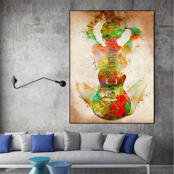 Abstract Figure With Guitar Painting Printed on Canvas 3