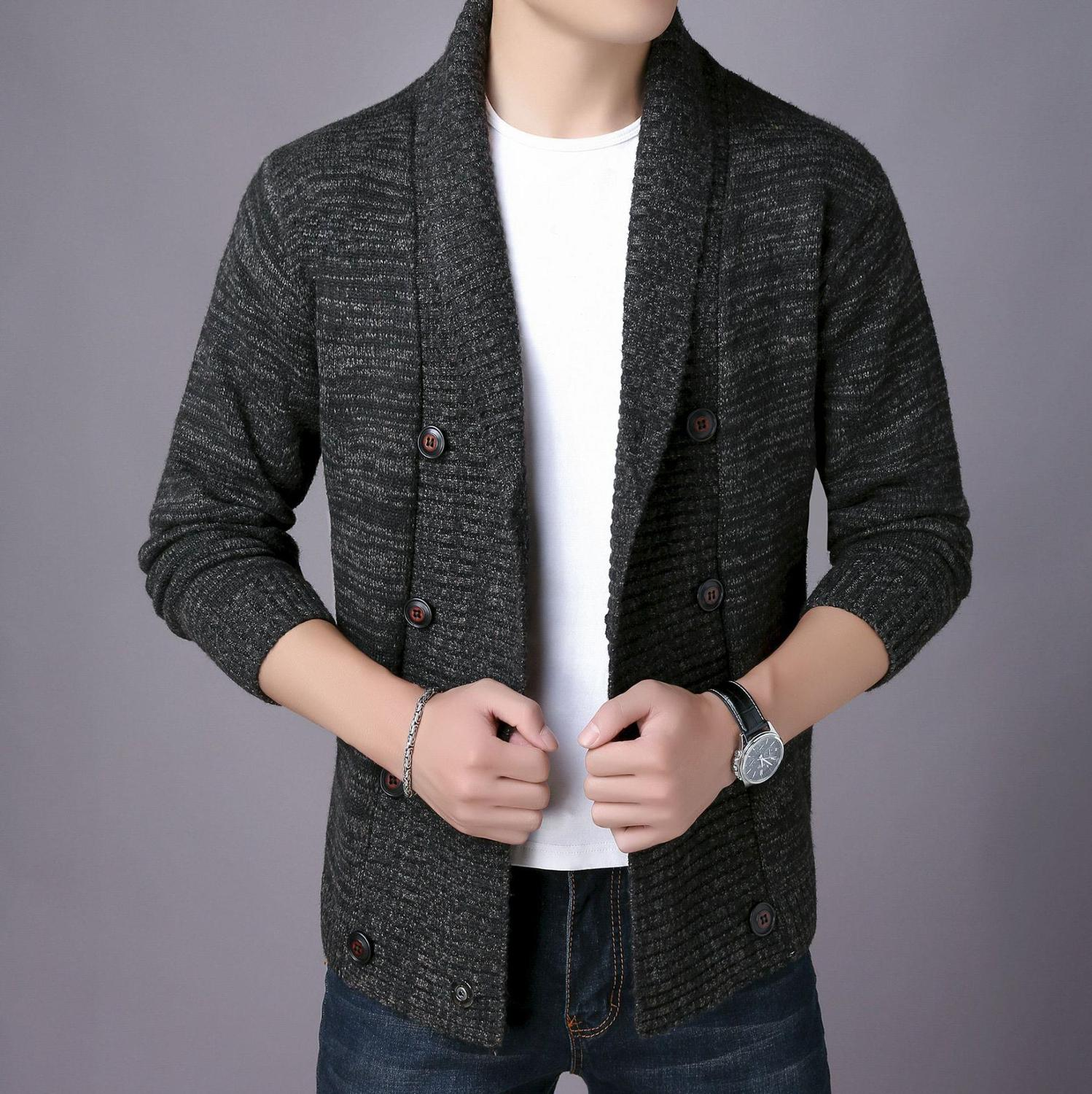 2020 New Autumn And Winter Korean Men's Double-breasted Sweater Fashion Casual Youth Double-breasted Cardigan Sweater