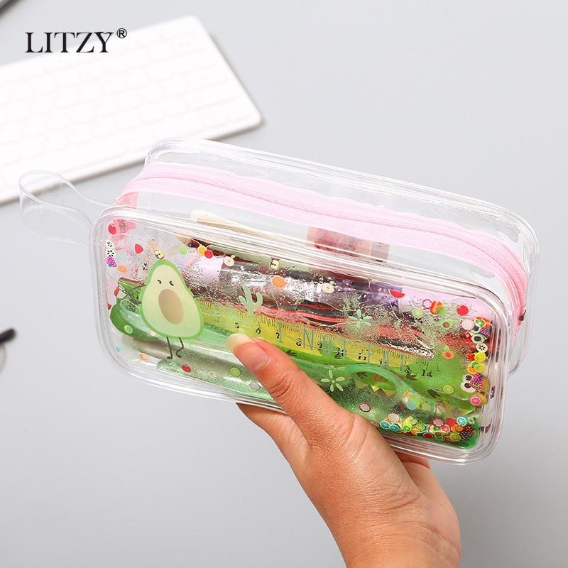 Kawaii Quicksand Avocado Pencil Case Large Capacity Pencil Bag Transparent Pencilcases For Girl Pen Box School Supply Stationery