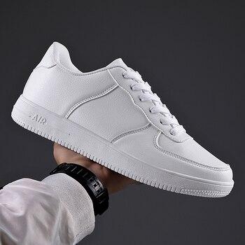 Autumn 2020 Leather Men's Sneakers White Breathable Casual Men Shoes Big Size 49 Black Man Vulcanized Shoes Zapatillas Hombre