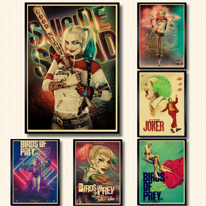 Vintage New DC Movie Harley Quinn And Joker Retro Poster Kraft Paper Printed Wall Posters For Home Bar Wall Sticker Painting