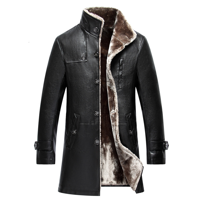 2020 Men Sheep Leather Jacket Coat Parka Real Fur Mens Clothing Long Plush Thick Over Winter Sheepskin Jackets Men Large Size