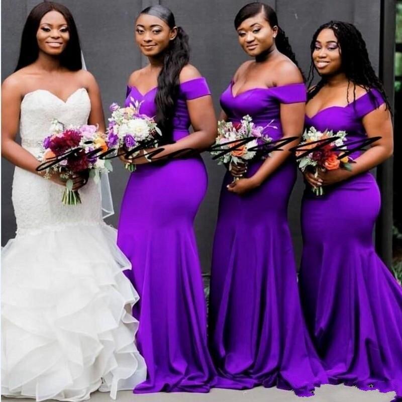 Dark Purple Mermaid Bridesmaid Dresses Long Off Shoulder Wedding Guest Dress Maid of Honor Gowns Off Shoulder Formal Dress