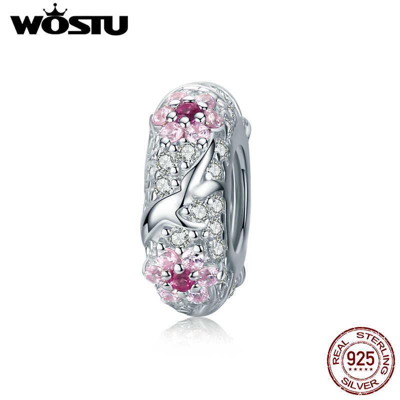 WOSTU 925 Sterling Silver Plum Blossom Spacer Flower Stopper Pink Zircon Charm Fit Original Snake Bracelet DIY Jewelry CTC152