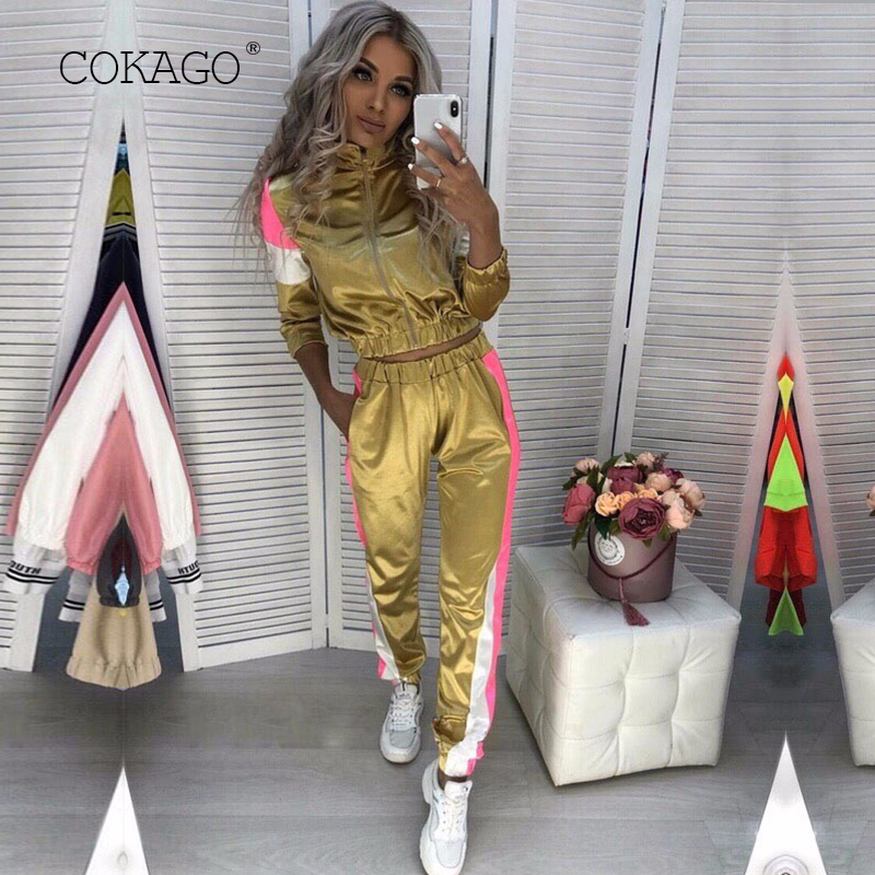COKAGO Patchwork Woman Tracksuit Autumn Winter Two Piece Set Top And Pants Women Turtleneck Sportwear Sport Outfit 2 Piece 2019