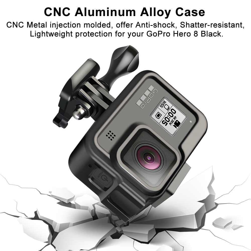Image 2 - CNC Aluminum Case for GoPro Hero 8 Black Metal Frame Cage    Screen Protector   Lens Tempered Glass for Go Pro 8 AccessoriesSports  Camcorder Cases