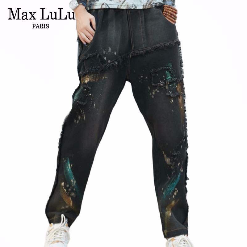 Max LuLu 2020 Spring Korean Ladies Fashion Vintage Streetwear Women Printed Elastic Jeans Ripped Harem Pants Punk Denim Trousers