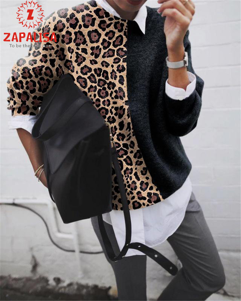 ZAPALISA Streetwear Sweater O Neck Solid Color Leopard Spliced Design Knitted Pullovers Fashion Warm Long Sleeve Women Sweater