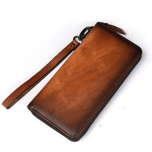 Image 2 - GEHEN LUCK Marke Echtes Leder Armband Kupplungen Brieftaschen Männer Kredit ID Visitenkarte Fall Frauen Handy Tasche Geldbörse unisex