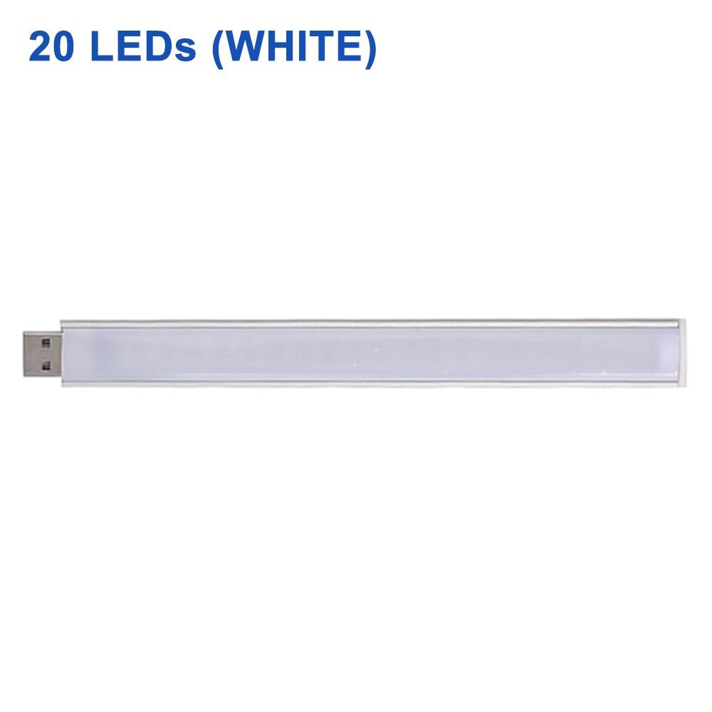 DC 5 В Мини светодиодный Ночной светильник, портативный 10 светодиодный s 24 светодиодный s USB настольная лампа для чтения, сгибаемый удлинитель, адаптер для США, книжный светильник s - Испускаемый цвет: 20LEDs White