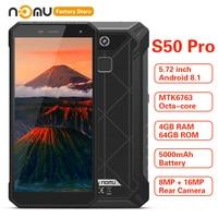 IP68 Waterproof NOMU S50 PRO 4G Smartphone 5.72'' Android 8.1 MTK6763 Octa core 1.5GHz 4GB 64GB 16.0MP 5000mAh Type C Cellphones