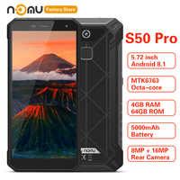 IP68 étanche NOMU S50 PRO 4G Smartphone 5.72 ''Android 8.1 MTK6763 octa-core 1.5GHz 4GB 64GB 16.0MP 5000mAh type-c téléphones portables