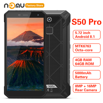 IP68 NOMU S50 PRO 4G Smartphone 5.72'' Android 8.1 MTK6763 Octa-core 1.5GHz 4GB RAM 64GB ROM 16.0MP 5000mAh Type-C Mobile Phones
