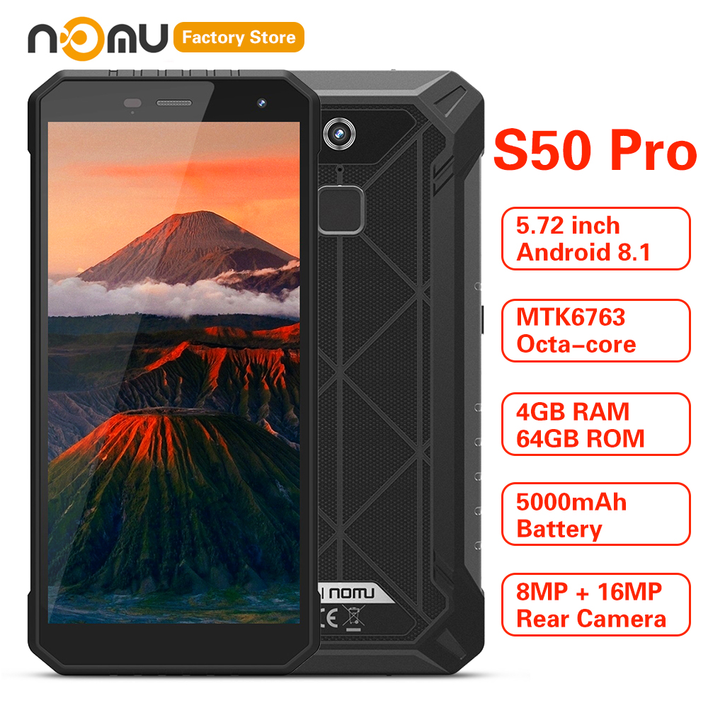 IP68 Waterproof NOMU S50 PRO 4G Smartphone 5.72'' Android 8.1 MTK6763 Octa-core 1.5GHz 4GB 64GB 16.0MP 5000mAh Type-C Cellphones image