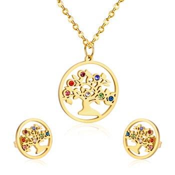 LUXUKISSKIDS Hot kolorowe kryształowe zestawy biżuterii Chrismas zawieszki choinkowe naszyjnik zestawy kolczyków drzewo życia Party kobiety obroże prezent