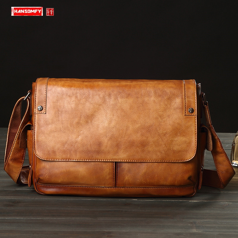 Business Casual Leather Men's Bag Horizontal Section Cowhide Vintage Shoulder Messenger Bag Men Laptop Bags Postal Briefcases
