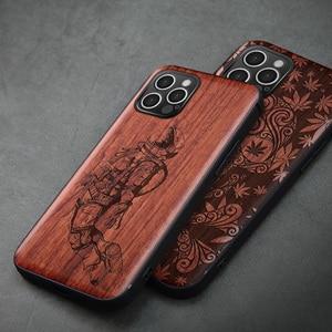 Image 2 - Carveit עבור iPhone 12 מיני פרו מקס אמיתי עץ מקרה רטרו מגולף אביזרי כיסוי מקורי עץ מעטפת דק רך egde טלפון גוף