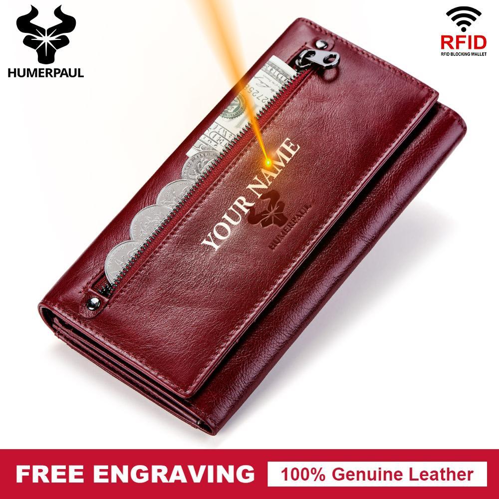 Free Engraving 100% Genuine Leather Women Wallet Coin Purse Long Card Holder Clutch PORTFOLIO Portomonee Red Handy Walet Pocket