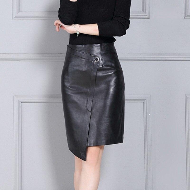 Womens Skirts Faldas Jupe Sheepskin Asymmetrical Quality High-Waist Casual Summer Wrap