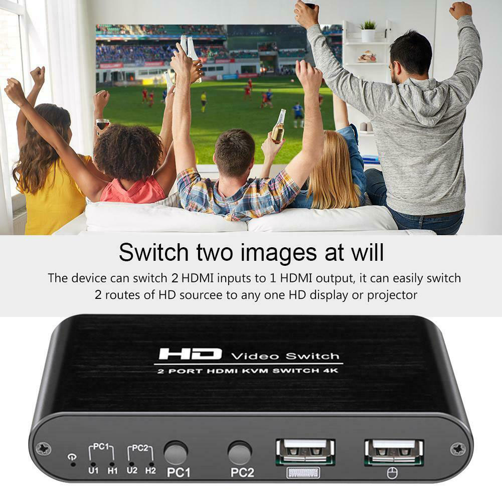 2 Port KVM 4K Video Plug And Play High Speed For Sharing Monitor Home Mice Multimedia Keyboard Mouse Splitter HDMI Switcher Mini