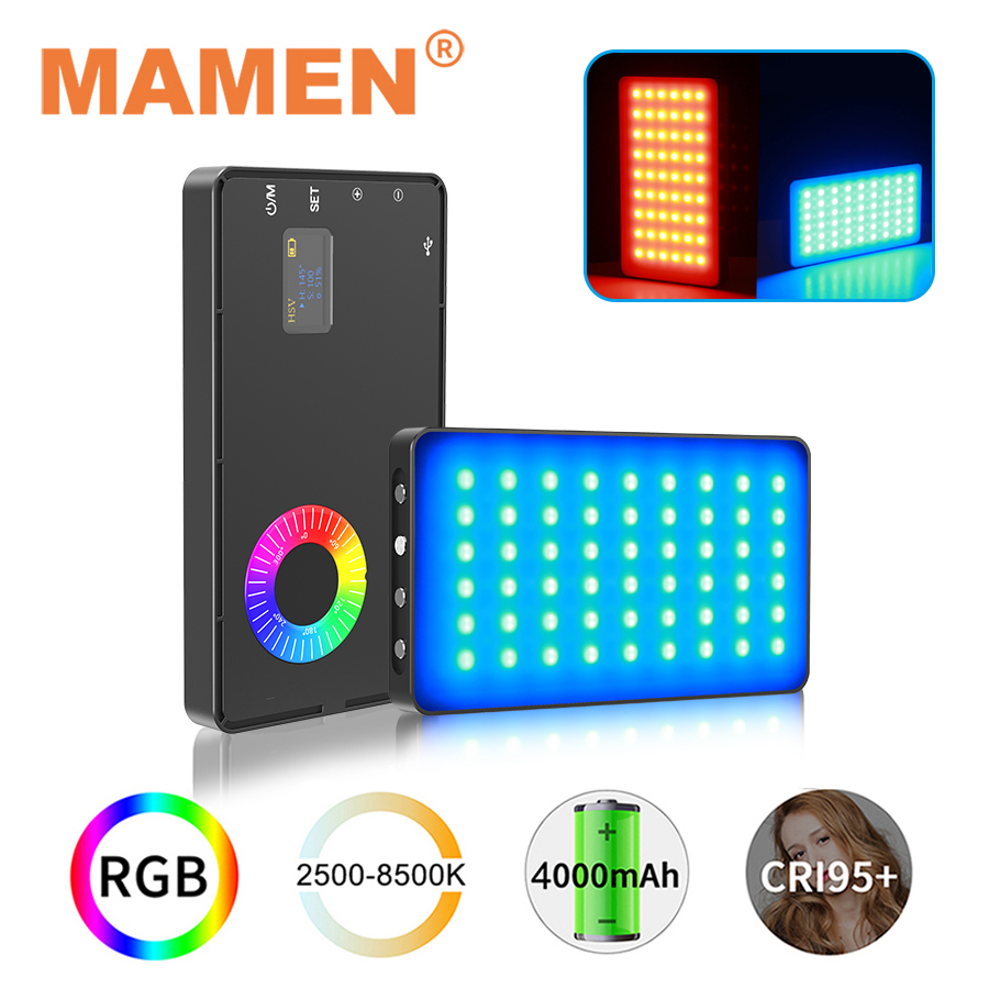 MAMEN Multi-function RGB Video Fill Light 4000mAh 2500-8500K CRI 95+ Photographic Lighting for Camera Selfie Vlog Youtube Light