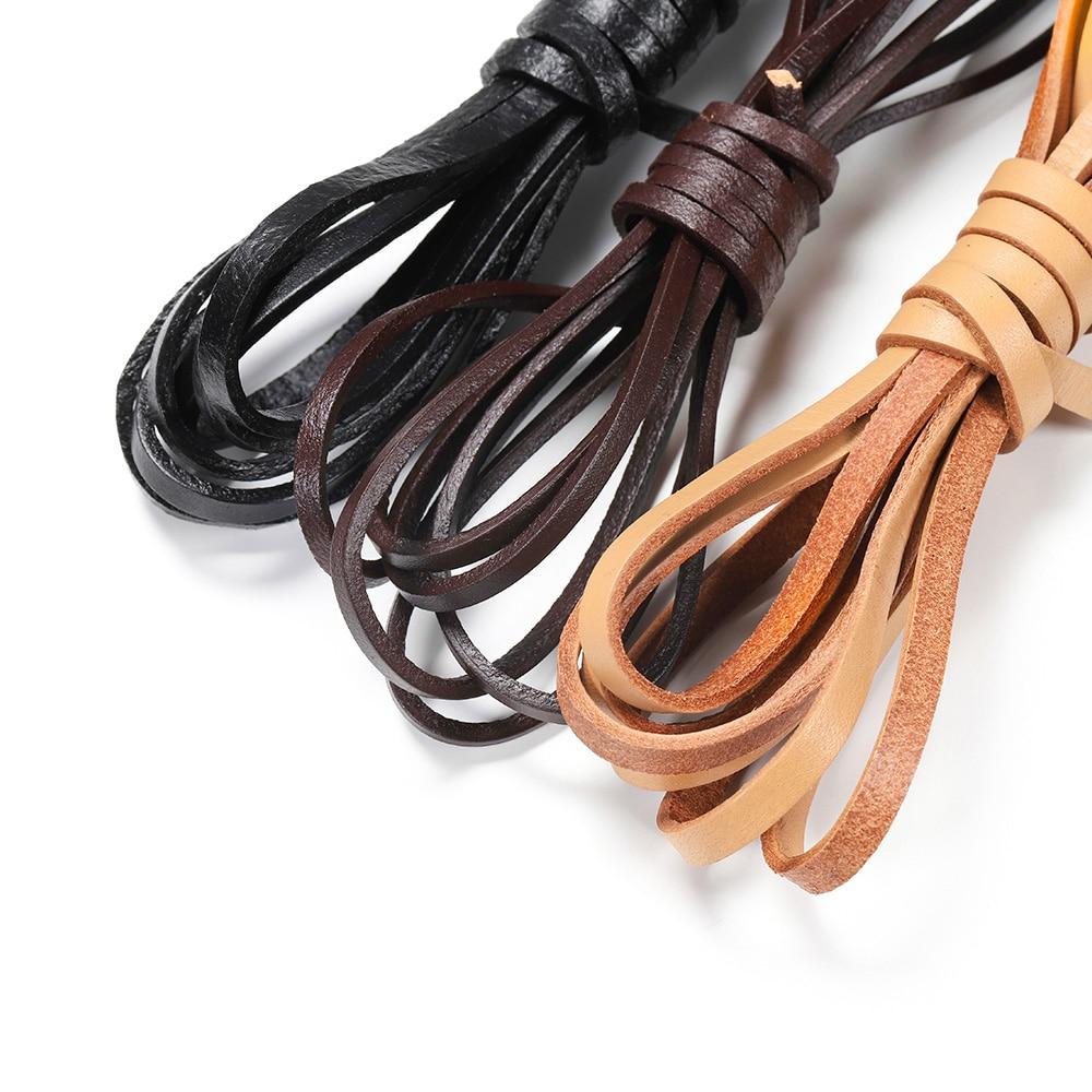 2 m/grup gerçek hakiki inek deri kordon genişlik yassı halat dize bilezik kolye DIY 2/3/4/5/6/8 / 10mm DIY takı aksesuarları