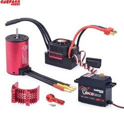 KK Waterproof Combo 3660 3500KV Brushless Motor w//Heat Sink 80A Brushless ESC +S0900M 9KG servo for RC 1/10 Car