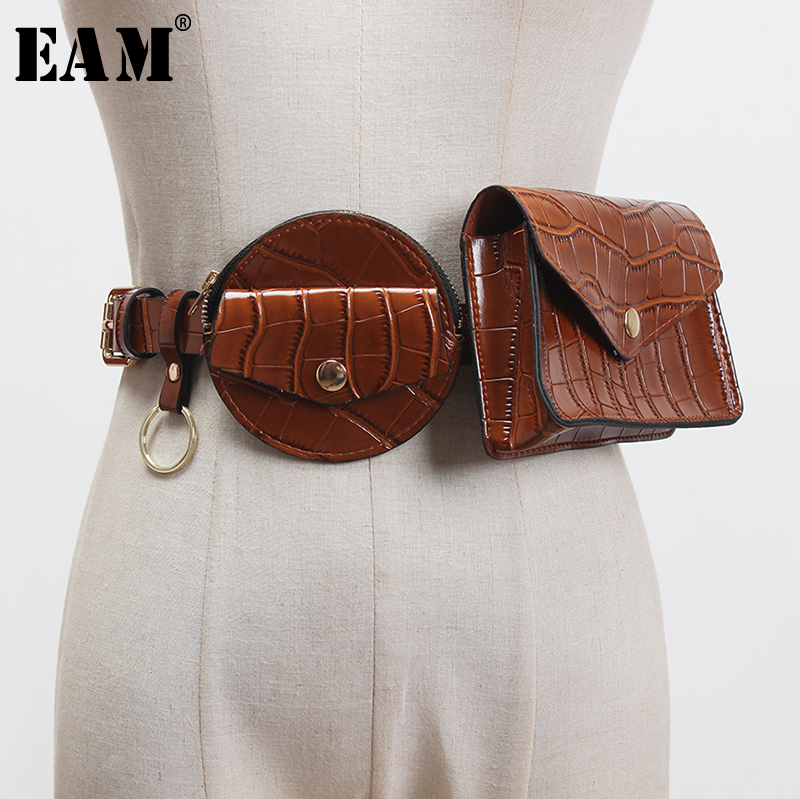[EAM]  Pu Leather Black Mini-bag Split Joint Cool Long Belt Personality Women New Fashion Tide All-match Spring 2020 1T180