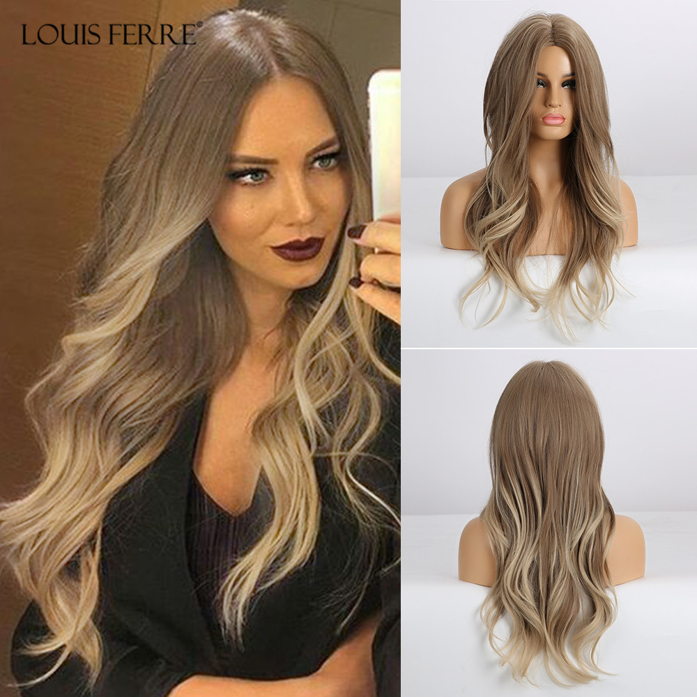 LOUIS FERRE Ombre Honey Brown Blonde White Ash Long Water Wave Wigs Middle Part Cosplay Wig For Black Woman Heat Resistant Fibre