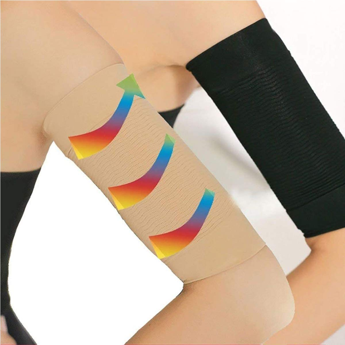 1Pair Elastic Compression Arm Sleeves Women Weight Loss Calories Slimming Arm Shaper Massager Arm Belt Slimming Compression
