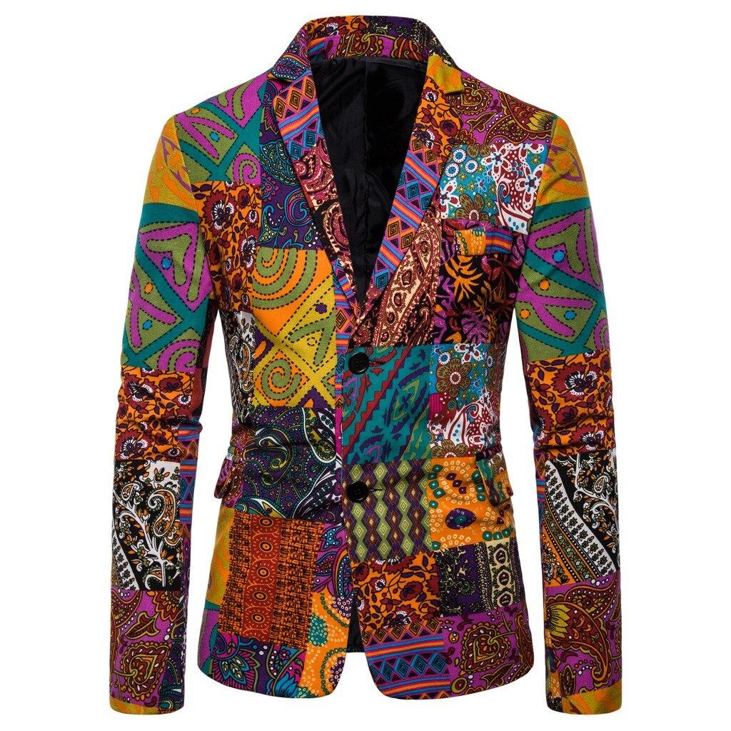 Mens Casual Vintage Ethnic Printed Floral Suit Slim Fit Blazer Jacket Red Warm Color Fashion Symbol Print Personalized Suit#LR3