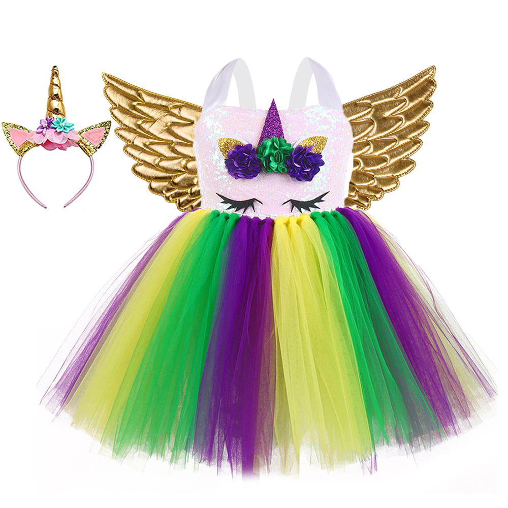 Unicorn Theme Party Dress Toddler Girls Handmade Sequin Flower Fluffy Tutu Dress 1-8year Kid Mardi Gras Pageant Dress Up Costume 1