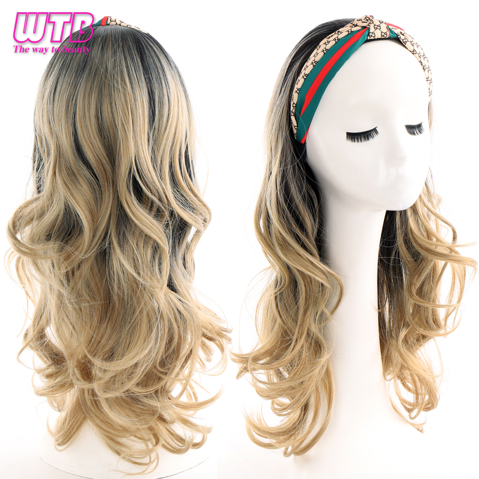 WTB Synthetic Long Wavy Hair Band Wig Integrated Hair Extension Black Blonde Ombre Hairpieces for Women Headband Wig