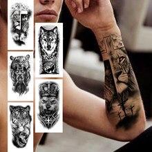 Cruz leão tatuagem temporária para mulheres adulto crânio tigre lobo floresta tatuagem adesivo preto falso realista demônio tatoos antebraço