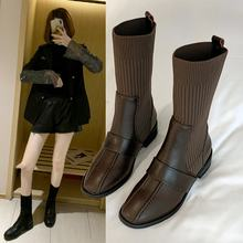 Thin boots autumn and winter socks shoes girl short boots 2019 net red new women versatile Martin boots female British(China)