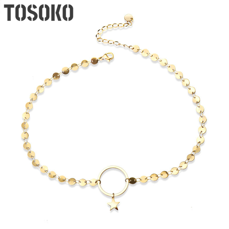 TOSOKO Small design five-pointed star clavicle necklace Round brand star clavicle necklace for women Stainless steel necklace