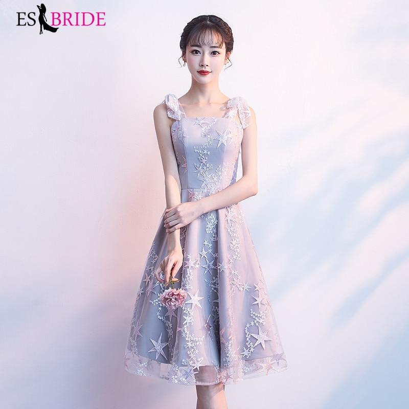 ES2757 New Cocktail Dresses 2019 Knee-Length Appliques Lace Formal Party Cocktail Dress Evening Party Dress Vestido De Coctel