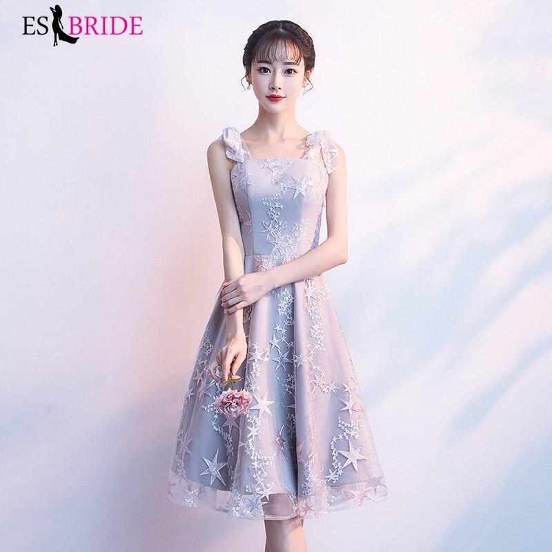 ES2757 New cocktail dresses 2019 Knee Length Appliques Lace formal party cocktail dress evening party dress vestido de coctel