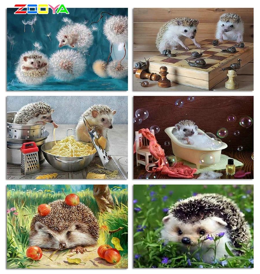 5d Diy Embroidery Diamond Painting Hedgehog Diamond Mosaic Animals Home Decor