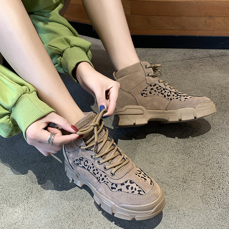 2020 Fashion Women Platform Sneakers Leather Causal Ladies Chunky Sneakers Woman High PU Leopard print Sports Shoes E16-37
