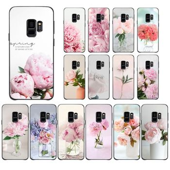 Pink Flower Peony On The Vase Phone Case For Samsung Galaxy A10 30 20 40 50 30S A70 A10S 20S A2Core A71 A9 star lite Coque Shell image