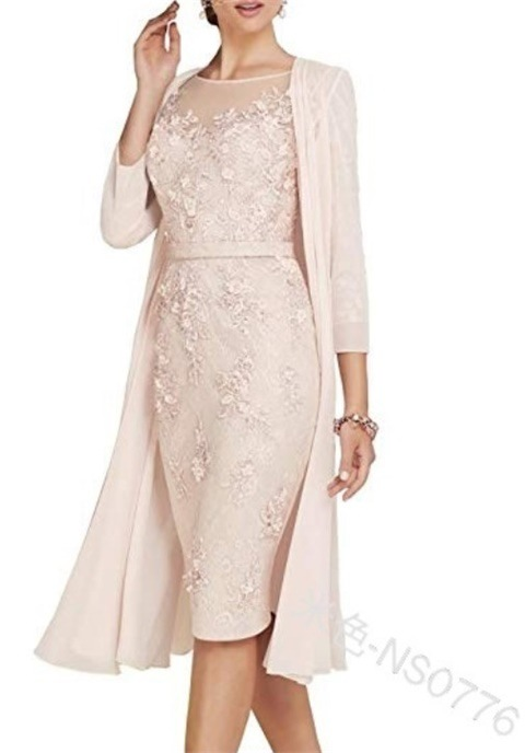 Dresses Jacket Tea Evening-Gowns Pink Formal Women's Lace Length Light The of with Groom title=