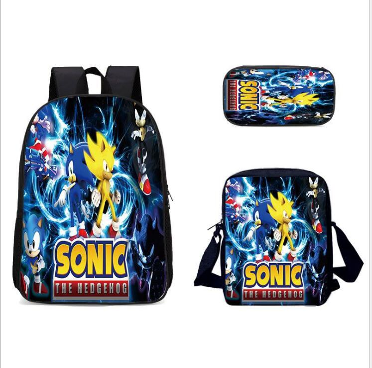 New Arrival Cartoon Sonic Printing Boys Girls School Backpack School Bag Children Mochilas Escolares Bolsa Freeship