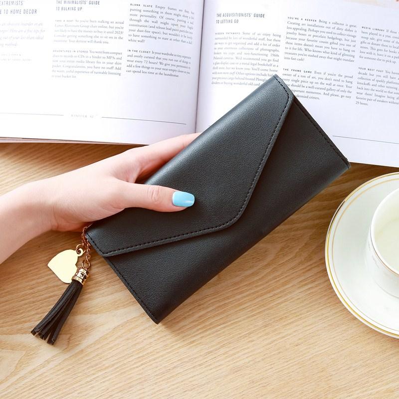 Модные женские кошельки, простые кошельки на молнии, черные, белые, серые, красные, длинный секционный клатч, кошелек из искусственной кожи, сумка для денег - Цвет: Black