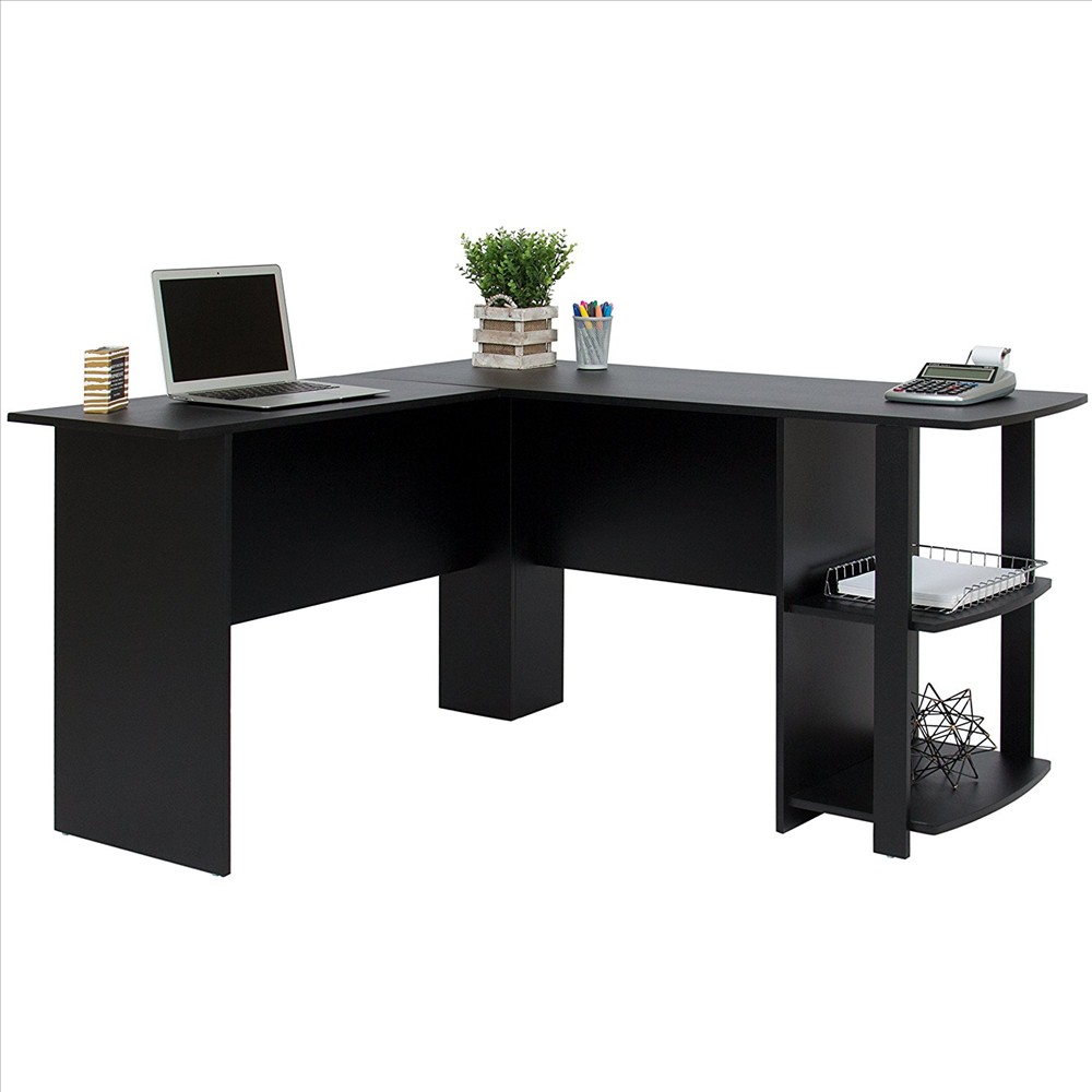 【US Warehouse】FCH L-Shaped Wood Right-angle Computer Desk With Two-layer Bookshelves Black (Computer Desk Table)