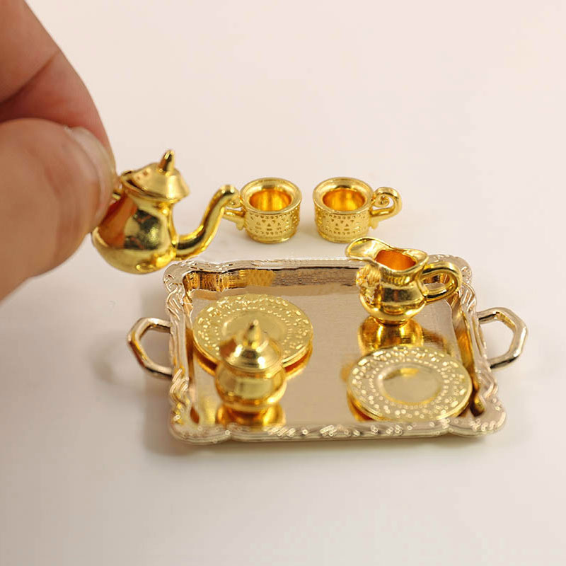 1: 12 Dollhouse Furniture Miniature Dining Ware Toy 8 Pcs Metal Tea Set Teapot Cup Plate Length 6.5cm