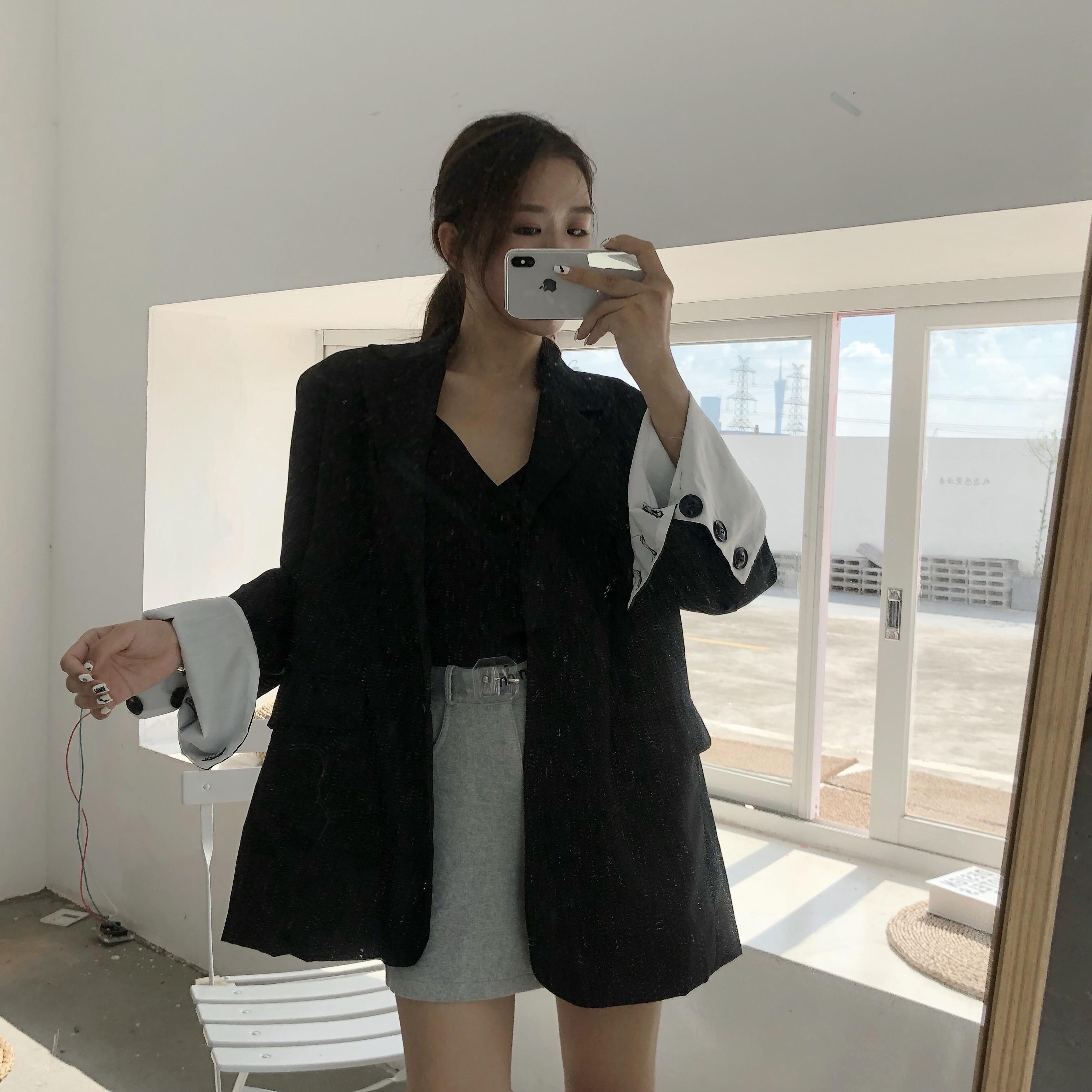 Vintage Double Breasted Black Elegant Women Blazers Korean Buttons Female Long Coat Female 2019 Casual Thin Blazer For Women 104