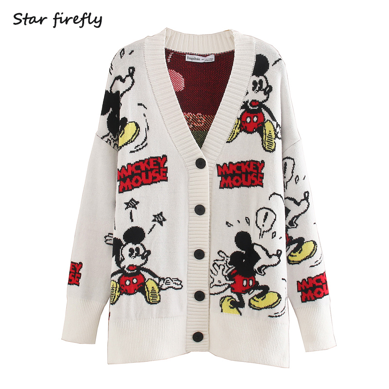 Star Firefly Fashion Za Cardigan Women 2020 Spring New Loose Casual Large Size V-neck Cartoon Animal Mickey Mouse Knit Cardigan
